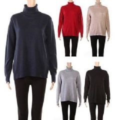 24 Units of Womens Long Sleeve Soft Pullover Turtle Kneck Knit Sweater Assorted Color - Womens Sweaters & Cardigan