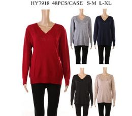 24 Units of Womens Long Sleeve V Kneck Knit Sweater Assorted Color - Womens Sweaters & Cardigan