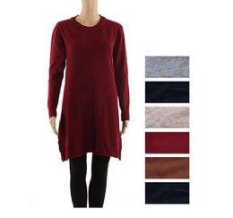 24 Units of Women's Long Sleeve Crew Neck Pullover Loose Tunic Sweater Dress - Womens Sundresses & Fashion