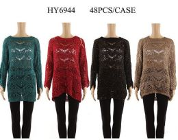 24 Units of Womens Dressy Sweater Long Sleeve Sheer Pullover - Womens Sweaters & Cardigan