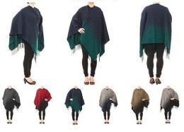 24 Units of Womens Warm Shawl Wrap Cape Color Block Winter Cardigan Sweaters - Womens Sweaters & Cardigan