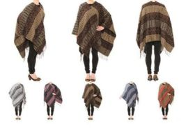 24 Units of Womens Warm Shawl Wrap Cape Striped With Fringes - Womens Sweaters & Cardigan