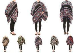 24 Units of Womens Warm Shawl Wrap Cape Bohemian Style - Womens Sweaters & Cardigan