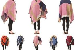 24 Units of Womens Printed Poncho Cape Cardigan Wrap Shawl - Womens Sweaters & Cardigan
