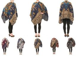 24 Units of Womens Printed Poncho Cape Cardigan Wrap Shawl - Winter Pashminas and Ponchos