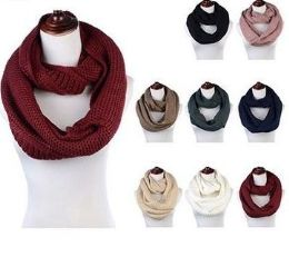 24 Units of Women's Acrylic Winter Scarf Crochet Knit Tube Scarf Assorted Color - Winter Scarves