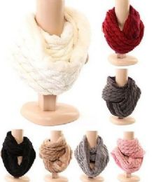 48 Units of Women's Cable Knit Winter Infinity Scarf With Plus Lining Neck Warmer - Winter Scarves