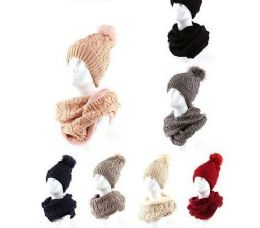 24 Units of Womans Heavy Knit Winter Pom Pom Hat And Plush Knit Scarf Fleece Lined - Winter Sets Scarves , Hats & Gloves