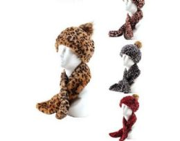 36 Units of Womans Heavy Winter Pom Pom Hat And Plush Knit Scarf Animal Print - Winter Sets Scarves , Hats & Gloves