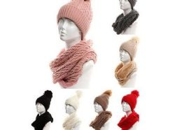 24 Units of Womans Heavy Knit Winter Pom Pom Hat And Plush Knit Scarf Set Assorted Color - Winter Sets Scarves , Hats & Gloves