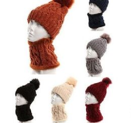 24 Units of Womans Heavy Knit Winter Pom Pom Hat And Plush Knit Scarf Fleece Lined Assorted Color - Winter Sets Scarves , Hats & Gloves