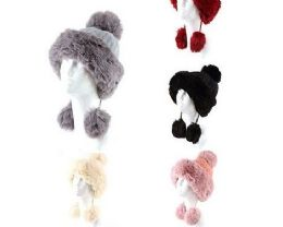 72 Units of Womans Heavy Knit Winter Pom Pom Hat And Plush Knit Hat Fleece Lined Assorted Color - Winter Hats