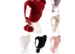 72 Units of Womans Heavy Knit Winter Pom Pom Hat Plush Hat Fleece Lined Assorted Color - Winter Hats