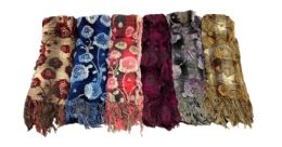 72 Units of Floral Printed Winter Scarf - Winter Scarves