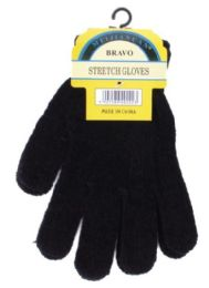 240 Units of Unisex All Black Chenille Gloves - Knitted Stretch Gloves