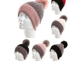 24 Units of Womans Heavy Plush Fleece Winter Pom Pom Hat - Winter Hats