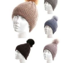 72 Units of Womans Heavy Plush Winter Pom Pom Hat Assorted Color - Winter Hats