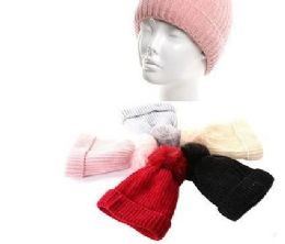 72 Units of Girls Heavy Plush Winter Pom Pom Hat Assorted Color - Winter Hats