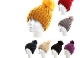 24 Units of Women Heavy Plush Winter Pom Pom Hat Assorted Color - Winter Hats