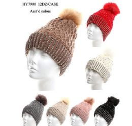 72 Units of Womens Heavy Plush Winter Pom Pom Sequin Knitting Hat - Winter Hats
