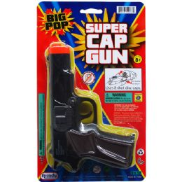 """72 Units of 7"""" Black Super Cap Toy Gun(square) On Blister Card - Toy Weapons"""