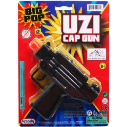 "48 Units of 5.75"" Black Super Cap Toy Uzi On Blister Card - Toy Weapons"
