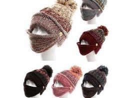 72 Units of Womens Girls Knit Beanie Scarf Mask Set Soft Warm Fleece Lined Winter Ski Hat With Pompom - Winter Hats