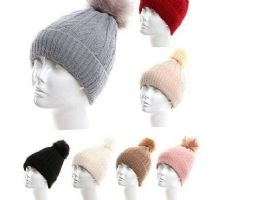 72 Units of Womens Girls Knit Plush Beanie Hat With Pom Pom - Winter Hats