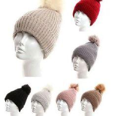 72 Units of Womens Girls Knit Plush Beanie Hat With Pom Pom - Winter Hats