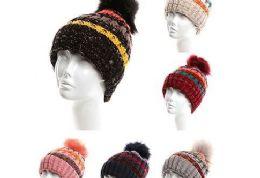 72 Units of Womens Girls Knit Plush Striped Beanie Hat With Pom Pom - Winter Hats