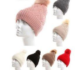 72 Units of Women Winter Cable Knit Warm Pom Pom Beanie Hat - Winter Hats