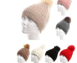 72 Units of Women Winter Cable Knit Warm Pom Pom Beanie Hat Assorted Color - Winter Hats