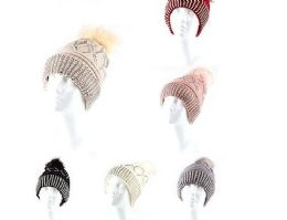 72 Units of Warm Chunky Soft Cable Knit Slouchy Beanie Pom Pom Hats Shinny Punk Caps - Winter Beanie Hats