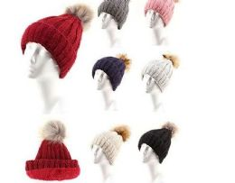 72 Units of Women Winter Slouchy Beanie Hat Soft Fleece Knit Ski Skull Cap With Pom - Fashion Winter Hats