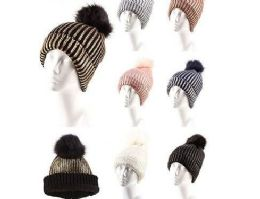 36 Units of Warm Chunky Soft Cable Knit Slouchy Beanie Pom Pom Skull Hats Shinny Punk Caps - Fashion Winter Hats