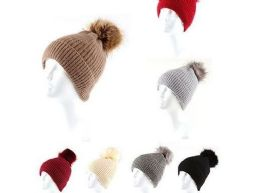 36 Units of Woman's Heavy Knit Winter Pom Pom Hat Assorted Colors - Winter Hats