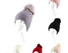 72 Units of Womens Winter Beanie Hat Warm Knitted Soft Ski Cuff Cap With Pom Pom - Winter Hats