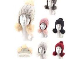 72 Units of Womens Pompom Beanie Hat Hanging Earmuff Cap - Winter Hats