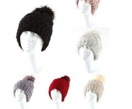 24 Units of Speckled Cable Knit Pom Pom Top Cuffed Beanie Hat - Winter Beanie Hats