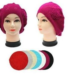 36 Units of Winter Heavy Knit Beret Assorted Colors - Winter Beanie Hats