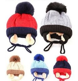 72 Units of Toddler Boys Winter Hat Warm Knit Beanie With Ear Flaps Fleece Lining And Pom Pom - Winter Beanie Hats