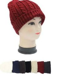 72 Units of Winter Knit Slouchy Beanie Baggy Warm Soft Chunky Cable Hats - Fashion Winter Hats