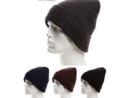 72 Units of Mens Winter Warm Knitted Hats With Fur Lined Beanie Hat Skull Cap - Winter Beanie Hats