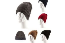 36 Units of Adults Ribbed Knit Beanie Winter Hat With Fur Lined - Winter Beanie Hats