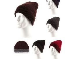 72 Units of Adults Ribbed Knit Beanie Winter Hat Slouchy - Winter Beanie Hats