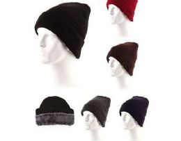 36 Units of Men Fur Lined Winter Beanie Hat - Winter Beanie Hats