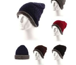 72 Units of Adults Warm Winter Hats Thick Knit Cuff Beanie Cap with Lining - Winter Beanie Hats