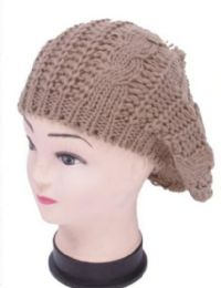 72 Units of Women's Beret Hat With Fur Ball - Fashion Winter Hats