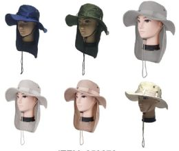 24 Units of Men's Fishing Hat With Neck Cover - Cowboy & Boonie Hat