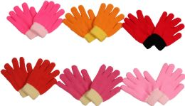120 Units of Girl's Magic Glove Assorted Colors - Kids Winter Gloves